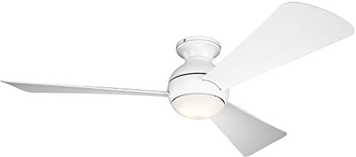 Collection Three Wall Alcove Installation - Kichler 330152MWH 54 Inch Sola Ceiling Fan LED, 3 Speed Wall Control Full Function, Matte White Finish with Matte White Blades