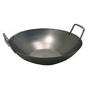16 Inch Carbon Steel Wok w/ 2 Steel Handles (Flat Bottom) USA Made
