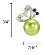 Boucles d'oreilles pour les femmes, papillon et perle synthétique (vert)