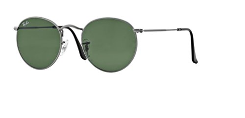 - Ray Ban RB3447 ROUND METAL 029 50M Matte Gunmetal/Crystal Green Sunglasses For Men For Women