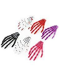 HUELE 6 Pairs Assorted Colors Women Skeleton Hand Bone Claw Punk Hair -