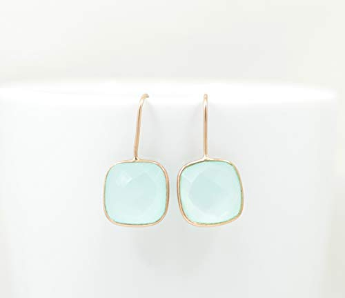 Aqua Chalcedony Rose Gold Plated Drop Earring Silver 925, Square Light Blue Cushion Gemstone