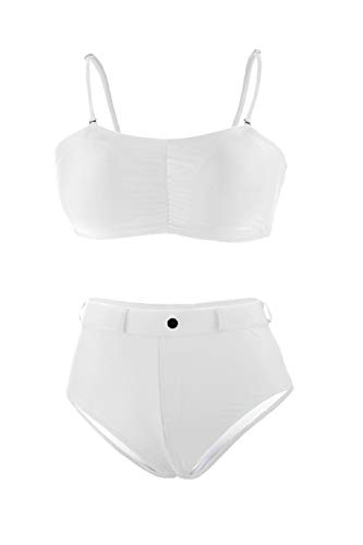 - Pink Queen Women's Bandeau Cheeky High Waisted Bikini Set Swimming Suit White L