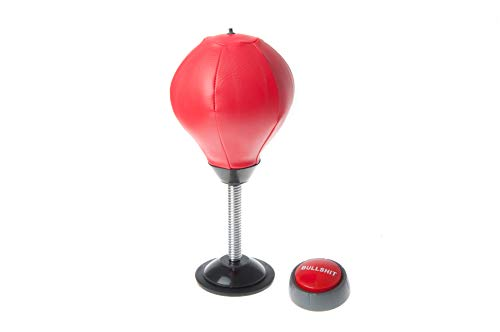 Draysvet Desktop Punching Bag Stress Relief Buster Punch Ball Red Leather Complete with BS Button