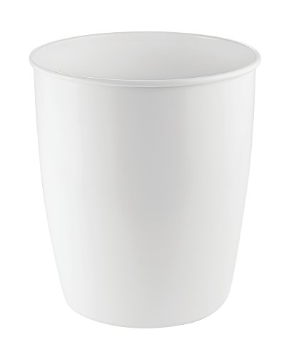 mdesign metal wastebasket trash can for bathroom office kitchen matte white
