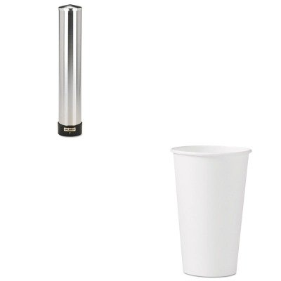KITSJMC3400PSLO316W - Value Kit - Solo Polycoated Hot Paper Cups (SLO316W) and San Jamar Large Water Cup Dispenser w/Removable Cap (SJMC3400P) by Solo