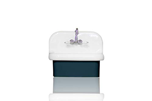 NEW Small Wall Mount High Back Bath Sink Antique Inspired Deep Basin Porcelain Farm Sink Package, Navy/Chrome