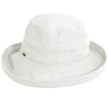 Scala Women's Medium Brim Cotton Hat, White, One Size