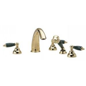 Phylrich K2158FT1_OEB - Carrara Deck Mounted Tub Set W/Hand Shower, Green Marble Lever Handles