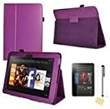 """Purple Kindle Fire HD 8.9"""" Purple Flip Leather Case Cover Multi-Function Flip Folio Stand with Magnetic Auto Sleep Wake, with free Screen Protector plus Touch Stylus Pen for New Amazon Kindle Fire HD 8.9"""" INCH Wi-Fi 16GB + 32 GB"""