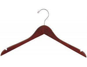 The Great American Hanger Company Wood Top Dress Hanger, Walnut Chrome Finish, Box of 100 (Walnut Wood Dress)