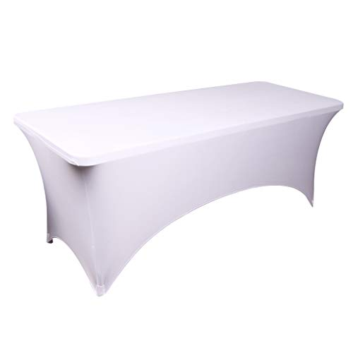 Fvstar White 6FT Tablecloth Rectangular Table Cover Spandex Four-Way Tight Fitted Stretch Polyester Table Cloth for Outdoor Party DJ Trade Shows Banquet Weddings Celebrations BBQ Picnic