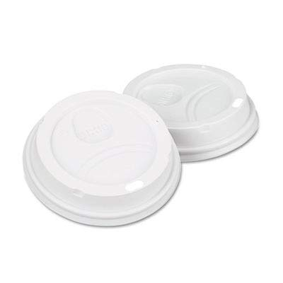 Dome Drink-Thru Lids, Fits 10, 12 & 16 oz. Paper Hot Cups, White, 500/Carton (DXE9542500DXCT) Category: Cup - Dixie White Dome