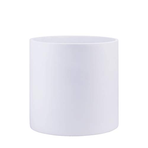 Indoor 10 Inches Round Modern Fiberglass Resin Planter Pot - Matte White - Easy Grow Planter with Drainage Hole and Plug - by D'vine Dev (Flower Fiberglass Pots)