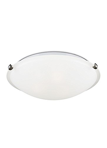 (Sea Gull Lighting 7543503EN3-962 Three-Light Flush Mount Ceiling Light with Satin Etched Glass Diffuser, Brushed Nickel Finish)
