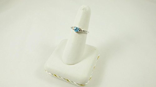 La Collection Bague Topaze : Bague Or Blanc 9ct avec coeur Topaze Bleue et set Diamants les épaules, pour cadeau, Bague de Fiançailles ou Anniversaire, Taille 49,50,51,52,53,54,55,56,57,58,59,60,61