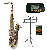 Merano B Flat Silver Tenor Saxophone with Case+Metro Tuner+Music Stand+11 Reeds