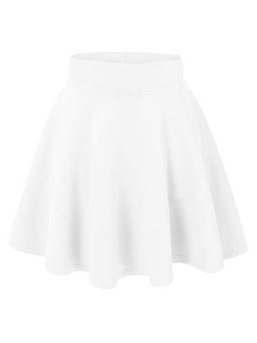 MBJ WB669 Womens Basic Versatile Strechy Flare Skater Skirt L White