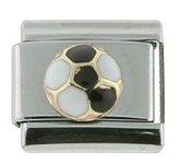 18K gold & Surgical Steel Soccer ball Black and White Italian Charm Bracelet (Gold Italian Soccer Ball)