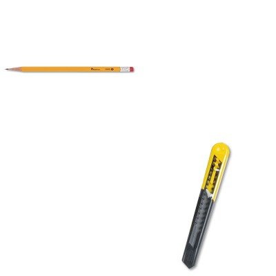 Retractable 13 Point Snap (KITBOS10150UNV55400 - Value Kit - Stanley Straight Handle Knife w/Retractable 13 Point Snap-Off Blade (BOS10150) and Universal Economy Woodcase Pencil (UNV55400))