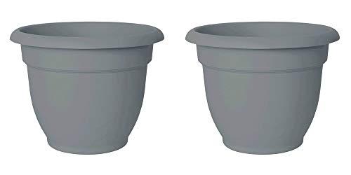 (Bloem Ariana Resin Planter With Self Watering Disk, Gray Peppercorn - SET OF 2 (8