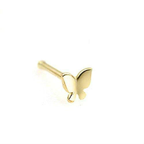 23b6c79d1a90a Crazy2Shop 14 Karat Solid Yellow Gold Butterfly Nose Stud Ring, Length: 8MM  Thickness: 20 GA