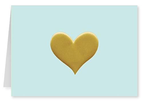 (Faux Designs - Light Blue Heart Foil Embossed Blank Folded Note Card Set of 8)