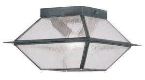 Livex Lighting 2175-61 Mansfield - Two Light Outdoor Flush Mount, Charcoal Finish with Seeded Glass