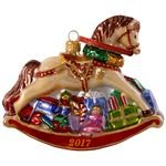 Hallmark Keepsake 2017 Regal Rocking Horse Premium Blown Glass Dated Christmas Ornament
