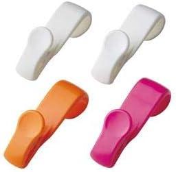 (まとめ) フック付きクリップ/キッチン用品 【4個入り】 ホワイト オレンジ ピンク 『クリップス』 【×180個セット】