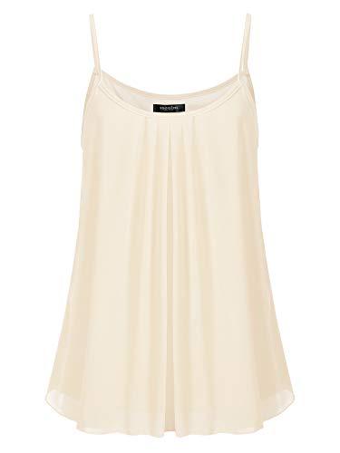 SSOULM Women's Sleeveless Pleated Chiffon Layered Cami Tank Top Blouse Cream 1XL