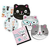 Cat Themed Dessert and Lunch Plates, and Lunch and Beverage Napkins Bundle - Paper Goods -