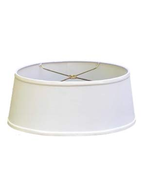 (Upgradelights White Linen Shallow Oval Vintage Baldwin Bouillotte Lampshade (14)
