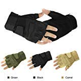 NSSTAR Military Half-finger Fingerless Tactical Airsoft Hunting Riding Cycling Gloves (Black, Medium)]()