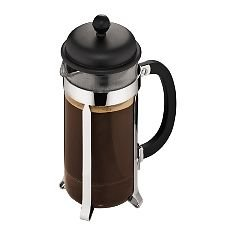 Bodum Caffettiera - French Press Cafetiere - Heat Resistant Borosilicate Glass with Black Handle and Lid - Various Sizes