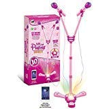 OceanEC Kids Karaoke Machine, Kids Karaoke Music Toy Play Set with Microphone and Adjustable Stand, AUX Cable Connect to Your Electronic Devices for Music (2 Microphones, Pink)
