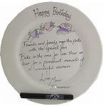 90th Birthday Gift: Sweet Pea Signing Plate(rd)