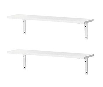 IKEA Shelving EKBY Osten Wall Shelves With Wall Mounts [2 PACK AND 4 MOUNTS] [All White] For Kitchen, Dining Room, Living Room, Bedroom Storage
