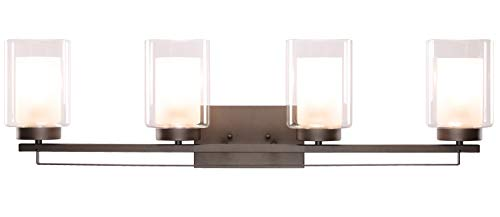 """Wall Light 4 Light Bathroom Vanity Lighting with Dual Glass Shade in Dark Bronze Indoor Wall Mount Light XiNBEi-Lighting… - DIMENSIONS: W: 34-1/4"""" x H: 9"""" extends 6-1/4"""" from the wall MEDIUM BASE SOCKET: Suggest to take four maximum 60 watt Medium base bulbs (incandescent, CFL or LED compatible). Bulbs not included FEATURE: Hardwired, Dark Bronze vanity light fixture with dual glass shade; Fixtures can be mounted as either up light or downlight. - bathroom-lights, bathroom-fixtures-hardware, bathroom - 21QDvYO8iXL -"""