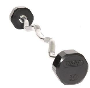 Troy Barbell TZB-020R 12-Sided Rubber Encased Ez-Curl Contoured Barbell - 20 Pounds by Troy Barbell