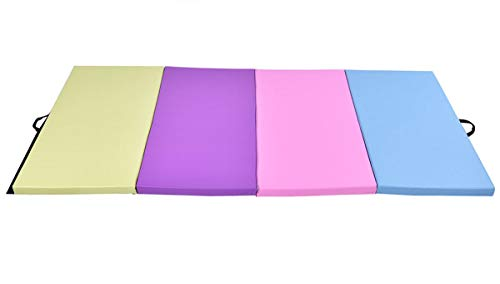 Exercise Mat 4'x8'x2 Gymnastics Mat Thick Folding Panel Gym Fitness Multi-Colors with Ebook
