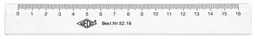 Wedo 5216 Lineal aus Kunststoff, 16 cm, transparent