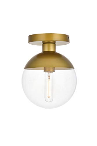 Living District Eclipse 1 Light Brass Flush Mount with Clear Glass (Eclipse Flush)
