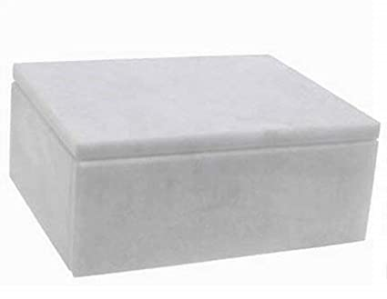 Khan Imports Decorative White Marble Pet Urn Box for Cat or Small Dog Ashes Up to 14 Pounds