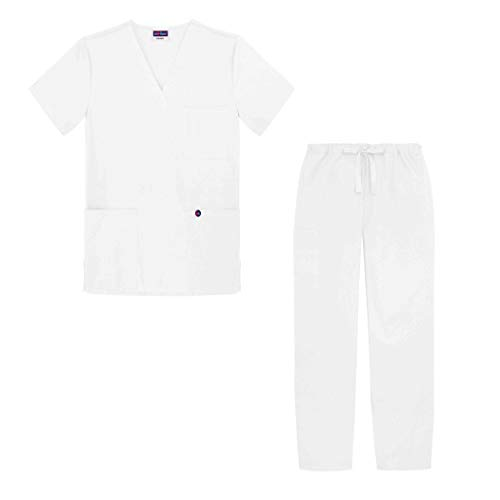 Sivvan Unisex Classic Scrub Set V-neck Top / Drawstring Pants (Available in 12 Solid Colors) - S8400 - White - S
