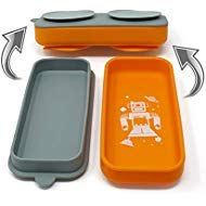 Suction Go Bowl - The World Most Compact Toddler Suction Dish. 100% Food Grade Silicone. Transforms into Food Container. (Orange)