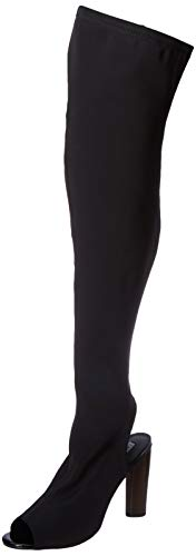 CAPE ROBBIN Connie-1 Women Stretchy Over The Knee Peep Toe Block Heel Pull On Boot, Color:BLACK, Size:9