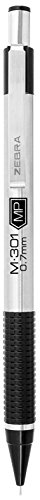 Zebra M-301 Stainless Steel Mechanical Pencil, 0.7mm Point Size, Standard HB Lead, Black Grip, 12-Count by Zebra Pen (Image #1)