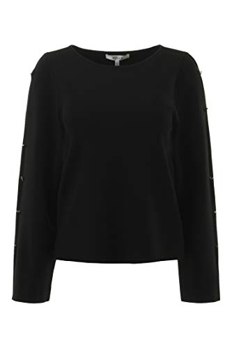 (MILLY Button Sleeve Pullover in Black (Black, S) )