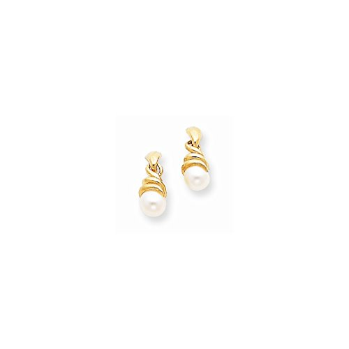 ICE CARATS 14kt Yellow Gold Swirl Freshwater Cultured Pearl Post Stud Earrings Drop Dangle Fine Jewelry Ideal Gifts For Women Gift Set From Heart